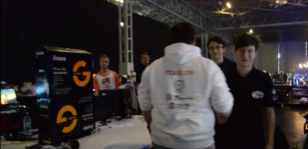 fearLess shaking hands with his former teammate Puls3 of FM eSports after our 2-0 loss